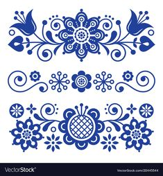 Floral folk art greeting card, design elements, Scandinavian style decor with flowers and leaves, retro navy blue floral compositions. Traditional Nordic patterns, spring ornament isolated on white Scandinavian Tattoo, Scandinavian Embroidery, Scandinavian Pattern, Scandinavian Folk Art, Folk Art Flowers, Flower Art, Polish Folk Art, Folk Embroidery, Arte Floral