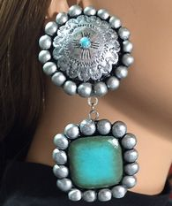"""Traditional Concho Top with Rounded Square Dangle (3 3/4"""" x 1 3/4"""")  ... Antiqued Silver and Faux Turquoise Finished Resin, Surg. Steel Post  www.maverickrose.com"""