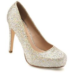 Designed with almond toe, glitter-covered upper, scopped vamp, easy Slip-on style, wrapped stiletto heel, and lightly padded footbed for comfort.