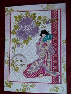 Tattered Lace Oriental Dies. Asian Crafts, Tattered Lace Cards, Easel Cards, Japanese Girl, Dyes, Stamping, Card Ideas, Birthday Cards, Oriental
