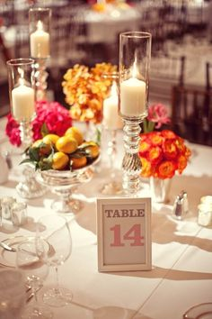 That Inspirational Girl - Table Setting - Fruit, Bright Flowers & Candles