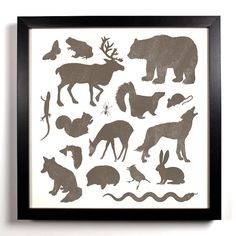 Forest Life Art Print 8 x 8 Forest Animals Bear Wolf Squirrel Fox Deer Skunk Hedgehog Snake Lizard Ant Mouse Butterfly Frog Buy 2 Get 1 Free