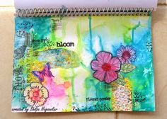 Neon Diary: Flower Power - Art Journal Page