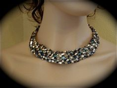 Navy Blue and Silver Crystal Statement Necklace - product images  of