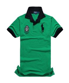 Cheap Polo Ralph Lauren Green Short Shirts A Black Pony Black Collar And A  Simple Symbol 52eb2ee330ef