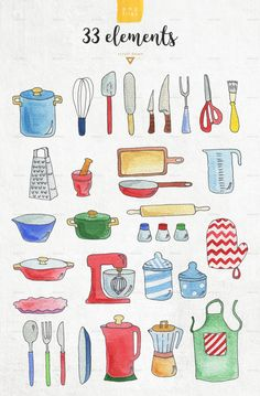 Buy Kitchen patterns & elements by likorbut on GraphicRiver. You will get: 33 design elements on transparent background (PNG) ✚ 12 seamless patterns (JPEG, transparent PNG). Stickers Cool, Printable Stickers, Planner Stickers, Bullet Journal Ideas Pages, Bullet Journal Inspiration, Recipe Book Design, Scrapbook Recipe Book, Kitchen Drawing, Food Drawing