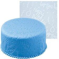 Happy Birthday fondant imprint mat by Wilton Buy Cake, Cake Shop, Happy Birthday Parties, Happy Birthday Cakes, Cupcake Mold, Cupcake Cakes, Rolling Fondant, Icing Tips, White Cakes