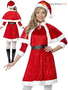 b8583d060ec Ladies Miss Santa Christmas Fancy Dress Costume Mrs Claus Women Outfit UK 8  - 14