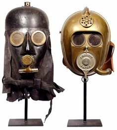 """This pair of early rescue masks, shown above, dates from between the mid-1800s and World War I. They look a bit familiar, right? Almost 100 years before Darth Vader and C-3PO hit the big screen in """"Star Wars"""" in 1977, these two smoke helmets were worn by firefighters carrying out rescues in smoke-logged buildings."""