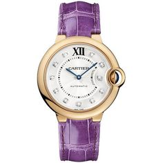 Cartier Ballon Bleu Rose Gold Diamond Dial Purple Leather Watch WE902028