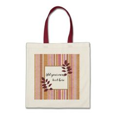 Trendy stripes with area to write your own text tote bag - pink gifts style ideas cyo unique