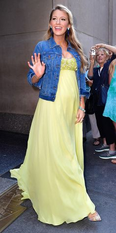 Blake Lively Expertly Dresses Down a Gown in Her Second Baby Bump-Baring Look of the Day from InStyle.com
