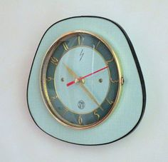 French 1950-60s Atomic Age SMI Bright GREEN Formica Wall Clock