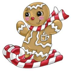 Gingerbread Boy On Candy Skis -- By Ronnie Rooney