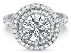 Precision Set double halo engagement ring