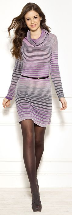 Diktons cowl neck print yarn striped dress