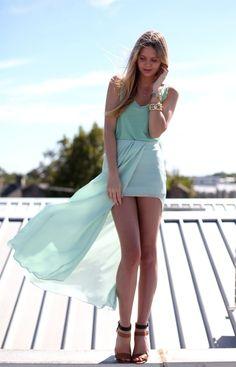 Light SkyBlue High-Low Skirt :)