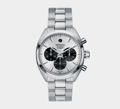Movado Mens Datron Automatic Chronograph - Silver and Black - Stainless Bracelet Fancy Watches, Best Watches For Men, Sport Watches, Cool Watches, Rolex Watches, Wrist Watches, Foot Bracelet, Amazing Watches, Automatic Watch