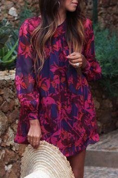 Floral Long Sleeve Loose Dress
