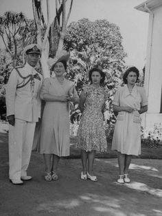 The Royal Family Standing in the Gardens at the Government House