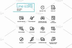 Delivery - Line Pictograms Set