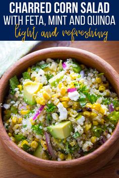 This fresh, summery charred corn salad is packed with quinoa, herbs, avocado and feta cheese and tossed in a light white wine vinegar Vegan Vegetarian, Vegetarian Recipes, Barbecue Side Dishes, Lime Vinaigrette, No Sugar Diet, White Wine Vinegar, Corn Salads, Salad Ingredients, How To Cook Quinoa