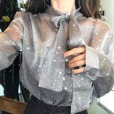 All Girls~ Chic Shiny Stars See-through Lace up Bow Blouse The Effective Pictures We Offer You About Blouse Styles, Blouse Designs, Look Fashion, Womens Fashion, Fashion Design, Looks Style, My Style, My Sun And Stars, Bow Blouse