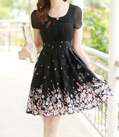$13.12 Elegant Women's Peter Pan Collar Short Sleeve Floral Print Chiffon Dress