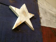 Texas flag made of reclaimed wood. Texas flag wall art. 3D Texas Flag. Rustic TX Flag. Handmade, made in Texas, made in America. Purchase here: http://aftcra.com/item/2866 #TexasFlag #TexasPride #RusticFlag #TexasArt #madeinamerica