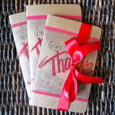 Help your Thanksgiving guests feel grateful all year long by giving them a gratitude journal as a favor. -- Love this idea!