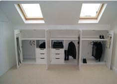 Bedroom Storage Ideas For Clothes, Bedroom Storage For Small Rooms, Attic Bedroom Designs, Attic Rooms, Attic Renovation, Attic Remodel, Loft Room, Bedroom Loft, Loft Conversion Bedroom