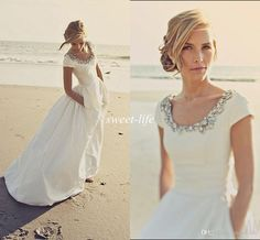 2015 Modern Wedding Dresses with Pockets And Short Sleeves Scoop Beading White Taffeta Cheap Spring Beach Wedding Bridal Gowns Custom Made Online with $122.75/Piece on Sweet-life's Store   DHgate.com