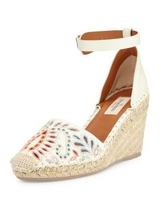 Floral-Embroidered Wedge Espadrille, Ivory by Valentino at Bergdorf Goodman.