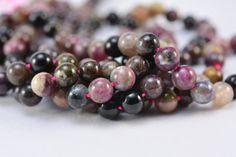 tourmaline, round bead 7mm, pink, yellow, black, jewelry making, jewelry bead, stone bead, loose bead, genuine tourmaline, semiprecious #handmade #jewelryfindings