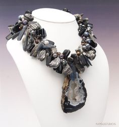 Black and White In Color with Geode Necklace, Made To Order www.KanduBeads.com