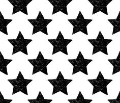 You are my mega star night hero dreamer black and white - fabric and wallpaper design by Little Smilemakers Studio at Spoonflower