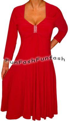 KH2 FUNFASH APPLE RED 3/4 SLEEVE EMPIRE WAIST COCKTAIL DRESS Plus Size 1X 18 20