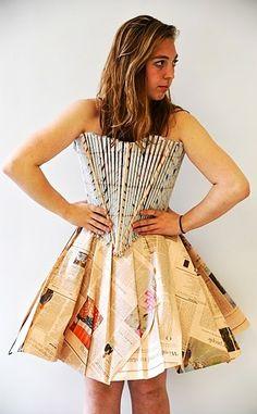 Times- A Newspaper Dress Design by Susan Merriam, via Behance Crazy Dresses, Nice Dresses, Paper Clothes, Paper Dresses, Anything But Clothes Party, Costume Carnaval, Recycled Dress, Newspaper Dress, Paper Fashion