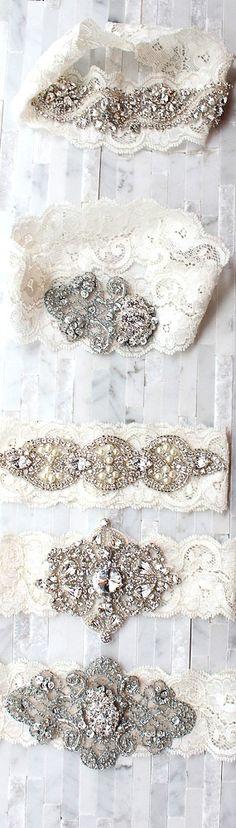 Retro vintage jeweled wedding garters bridal hair ideas  Toni Kami Wedding Hairstyles ♥ ❷