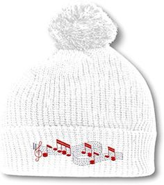a82621aedcc Music Notes Embroidery Embroidered Pom Pom Beanie Skully Hat Cap