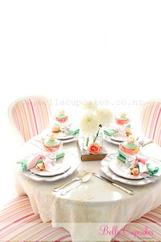 Bella Cupcakes: Love the large cup cakes in the margarita glass!  Placing rose petals around the cup cake is a great idea