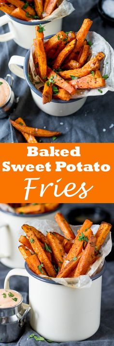 Baked Sweet Potato Fries - an easy and healthier alternative to regular fries. They taste great too! Healthy Recipes, Vegetable Recipes, Healthy Snacks, Vegetarian Recipes, Healthy Eating, Cooking Recipes, Cooking Cake, Delicious Recipes, Weight Watcher Desserts
