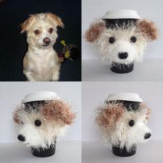 Custom Dog Cozy #giftfordoglovers #dogs #hookedbyangel #customdog #dogcup #dogmug