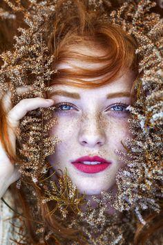 People 1365x2048 sensual gaze women eyes blue eyes face freckles redhead model nature
