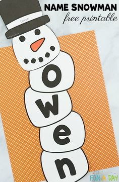 Name snowman activity and free printable Preschool kids can practice their names while making a name snowman. This activity incorporates arts, crafts, and literacy. There's even a free printable! Preschool Names, Preschool Projects, Preschool Activities, Free Preschool, Preschool Lessons, Name Snowman, Snowmen, January Crafts, Winter Crafts For Kids