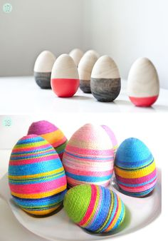 Dipped wooden Eggs and String wrapped eggs by Craftberry Bush