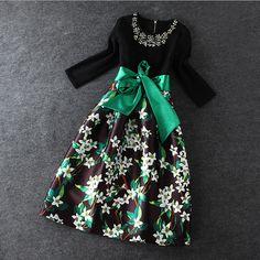 Slim beaded stitching Printed Dress #111301AD