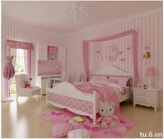 Delightful Cute Little Hello Kitty Room For Little Girls