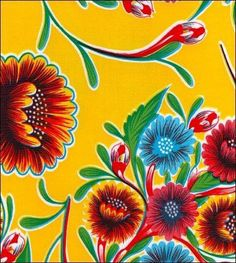 Yellow Spring Bloom Oilcloth Fabric