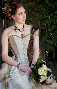 Steampunk inspired wedding/ prom dress/ gown by LyndseyBoutique,